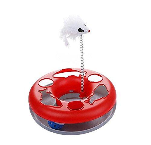 NaXinF Sicherheitshalsband für Katzen Moving Spring Mouse Schallplattenspieler rund mit interaktivem Spielzeug zur Ausbildung Ball (rot)