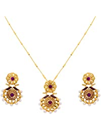 JFL - Traditional Ethnic Fusion One Gram Gold Plated Pearls Designer Pendant Set With Earring For Women & Girls