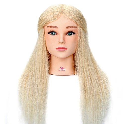 Neverland Professionnel Tête d'exercice Tête à coiffer Cosmétologie Mannequin Head cheveux 100% réel 52cm # 613 Avec Blue eye