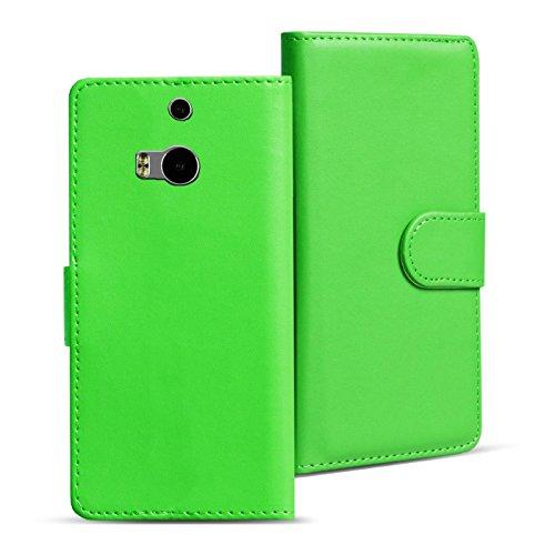 HTC One M8 Bookstyle Hülle, Conie Mobile PU Leder Schutzhülle Handytasche Bookcase Tasche Premium Klapphülle in Grün