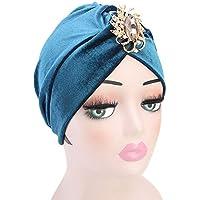 Gorras Mujer Invierno ❄ Sonnena Mujer Stretch Rhinestones Sombrero Cabeza de la pérdida de Pelo Bufanda Envuelva la Tapa Musulmana Sombrero de Turbante de la India