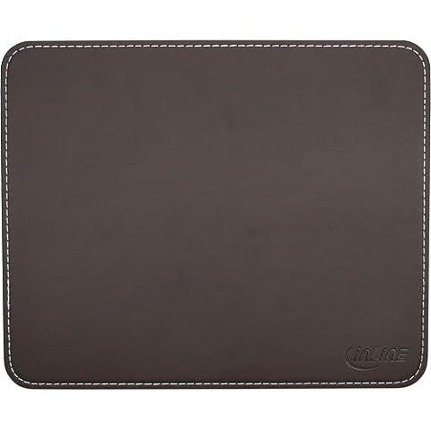 InLine 55459B Premium - Alfombrilla de cuero sintético para ratón, color marrón