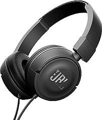 Idea Regalo - JBL T450 Cuffie Sovraurali Cuffia On Ear con Microfono e Comando Remoto ad 1 Pulsante JBL Pure Bass Sound, Leggere e Pieghevoli, da Viaggio, Nero