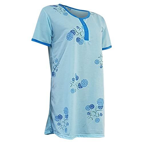 Lavazio Damen Nachthemd Kurzarm mit Knopleiste Knielang mit Blumen Motiv in 5 Qualität, Größe:L, Farbe:hellblau -