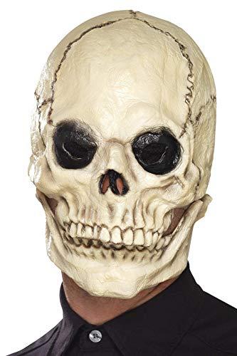 Smiffys Unisex Totenschädel Latex Schaum Gesichtsmaske, Ganzer Kopf, One Size, Weiß, 44887