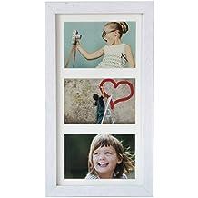 18 x 35 cm Marcos de la foto Multiple con paspartu para 3 fotos 10 x 15 cm, Blanco I