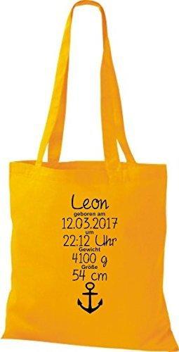 Shirtstown Stoffbeutel ein tolles Geschenk zur Geburt mit deinen persönlichen Initilien Anker Gelb