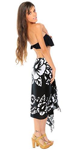 1 World Sarongs Damen Hibiskus Blumen Badeanzug Sarong in Ihrer gewählten Farbe Schwarz/Weiß Reihe