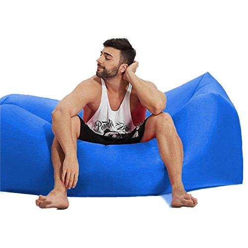Aufblasbares Sofa, Beverly Wasserdicht aufblasbarer sitzsack air sofa aufblasbar, tragbar Outdoor Air Betten Schlafen Sofa Couch, für Reisen, Camping, Aufblasbare Liege(Dunkelblau)