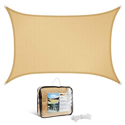 Levesolls Sonnensegel Sonnenschutz 3 x 2m Rechteck HDPE Wetterschutz Wasserabweisend imprägniert Schattenspender Gelb (Verpackung MEHRWEG)