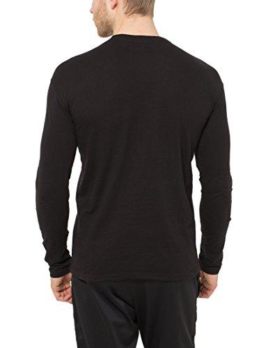 Lower East Herren Langarmshirt mit Rundhals-Ausschnitt, in Verschiedenen Farben 5er Pack Schwarz