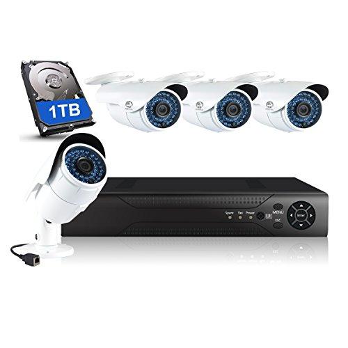 Preisvergleich Produktbild JOOAN 960P POE Überwachungskamera 1.3MP Überwachungssystem Videoüberwachung 4 Kanal NVR Rekorder mit 1TB Überwachungsfestplatte,  Klare Nachtsicht,  Wasserdicht