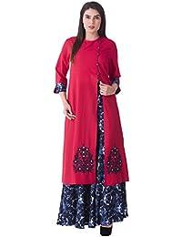 Khushal Women's Rayon Printed Kurta With Skirt