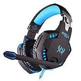 Pixnor JEDE G2100 professionelle over Ear Kopfhörer Stereo Bass Vibration Gaming Kopfhörer Headset für PC Gamer (schwarz + blau)
