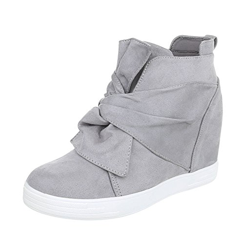 Chaussures femme Bottes et bottines Plat Bottines compensees Ital-Design gris clair