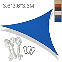 YLA Impermeable Sun Shelter Triangle Sunshade ProtectionPatio alAire LibrePool Shade Sail Awning Camping Shade, 3.6x3.6x3.6m