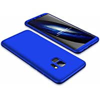 Funda Samsung Galaxy S9 Plus Case Lanpangzi 3 en 1 Combinación [Protector de Pantalla de Vidrio Templado] Silicona TPU 360 Grados de Protección Anti-Golpes Protectora Cover - Azul