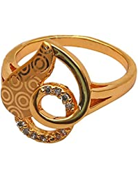 Archies Fashion Jewellery Finger Ring With White Stone For Women | Rose Gold Fancy Ring | Gifts (Size - 16)