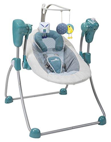 Babymoov Babyschaukel Swoon Bubble Petrol - Schaukel/ Wippe für Babys, 8 Schlaflieder, Rückenlehne in 2 Positionen verstellbar, inkl. Timer
