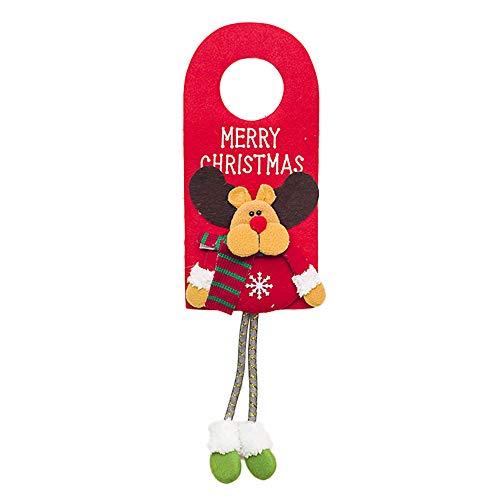 Selou Santa Claus Tür Ornament Schneemann-Renweihnachtstürgriffdekoration Weihnachtsgewohnheit Geschenk Nette glückliche Türdekoration Schick weihnachtskugeln günstig weihnachtsdeko christbaumkugeln