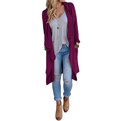 Koly_Le donne irregolari a maniche lunghe cardigan allentato del rivestimento del cappotto (Viola)