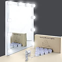 UNIFUN Vanity Mirror Lights, Hollywood Style USB Powered Makeup Mirror LED Lights with 10 Dimmable Light Bulbs Flexible Lighting Fixture 7000K for Bathroom,Makeup Dressing Table (Mirror Not Include)