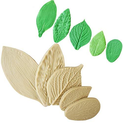 Voarge Silikonformen für Fondant, zur Kuchendekoration, Blatt Ausstecher Zuckerblume Blüten Ausstecher Fondant, 5-teiliges Set -