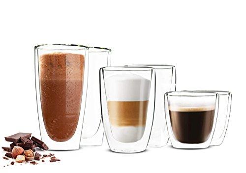 Sendez 6 Doppelwandige Gläser 2x450ml 2x200ml 2x90ml Kaffeegläser Thermogläser Latte Macchiato Set