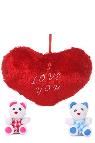 Deals India Valentine Gift Heart Cushion With Two Cute Teddy Combo  available at amazon for Rs.194