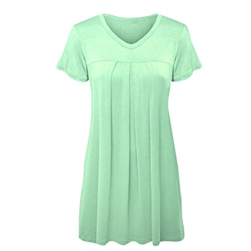 VJGOAL Womens Summer Cotton Plus Size Pleated Short Sleeve V Neck Solid Top Tunic Blouse Shirt