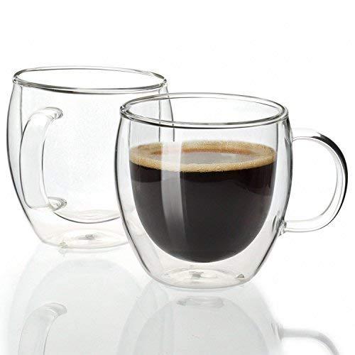 sweese 4601Espresso Cups-5oz, Doppelwand isoliert Glas Kaffee Tassen, mit Griff, ideal für Espresso Maschine und Kaffeemaschine, Set von 2