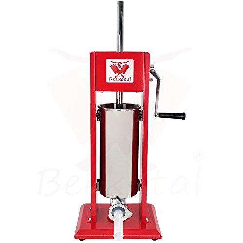 Beeketal \'MT05\' Profi Gastro Wurstfüllmaschine (5 Liter) SGS-geprüft, Wurstfüller mit 2 Gang Vollmetall-Getriebe und Handkurbel, Gehäuse aus Stahl (rot lackiert), inkl. 4 Fülltüllen