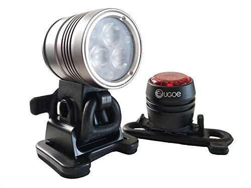 Ugoe Outdoor LED Helmlampen Set 1500 Licht mit Akku und Sicherheits- Rücklicht