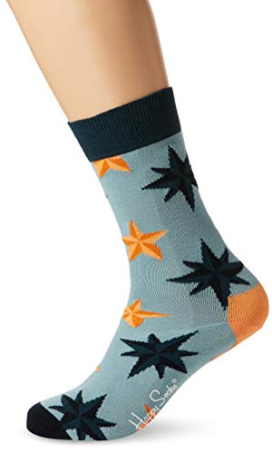 Happy Socks Unisex Nautical Star Sock, Mehrfarbig (Navy 6000, 41-46 EU - Socke-tier-mustern