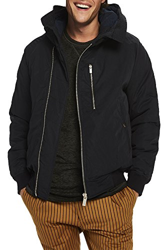 Scotch & Soda Herren Jacke mit Kapuze Bomber Jacket, Blau (Night 0002), Large (Gesteppte Nylon-bomber-jacke)