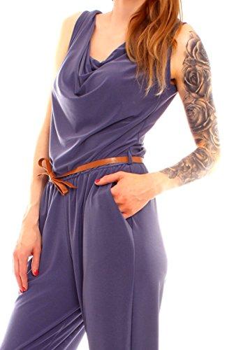 Easy Young Fashion Damen Overall Lang Wasserfall Ausschnitt Jeansblau