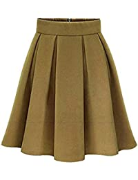 Mujer A-Línea Color Sólido Mini Elasticidad Faldas Plisadas Cintura Alta  Falda d360d85d630c