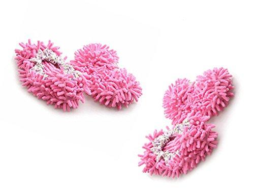 Viskey Komfortable Wischmop-Bodenreiniger in Form von Hausschuhen 2pcs Pink