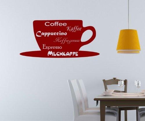 Wandtattoo Kaffee Tasse Milchkaffee Küche Wand Sticker Wandbild Aufkleber 5Q638, Farbe:Rot...