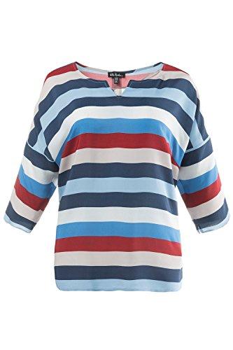 Ulla Popken Damen große Größen   Oversized-Bluse   Streifen   Multicolor   Rundhalsausschnitt   3/4Arm   bis Größe 62+   704872 tiefseeblau