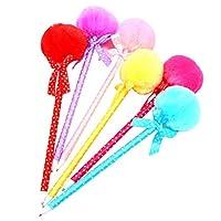 Toyvian Fluffy Pens Black Ink Ballpoint Ball Pen Pom Pom Ball Pendant Rollerball Pen (Random Color) - 12Pcs