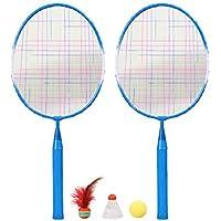 BESPORTBLE 1 Juego de Raquetas de Bádminton para Niños Entrenamiento de Bádminton Deportes Al Aire Libre Juego de Juguetes con Tres Bolas Aptas para Niños (Azul)