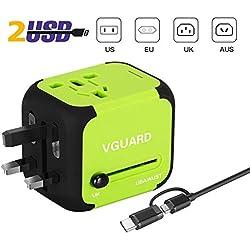 VGUARD Adaptateur de Voyage avec 2 USB Adaptateur Universel Pris de Courant pour UE/US /UK/AUS Utilisé dans Plus de 150 Pays Adaptateur Chargeur avec Deux fusible (fusible de Rechange) - Vert