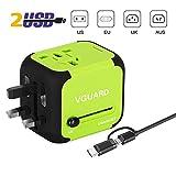 VGUARD Adaptador Enchufe Ingles de Viaje Universal Cargador Internacional con MAX 2.4A para Americano Europeo UK USA 150 Países [Cable Lighting & 2 en