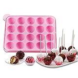 Tancurry Silikon CakePop Backform Kugeln Formen Silikonform für Lollipop Schokolade Süßigkeiten mit 20 Stück Stöcke