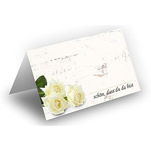 briefumschläge24Plus 100precioso Tarjetas de mesa (Ramo de rosas de color blanco de madera de fondo) Laca UV brillante–para Bodas, cumpleaños, Bautismo, comunión, confirmación, aniversario. COMO liebevolle mesa decoración.Formato 8,5x 11,2cm