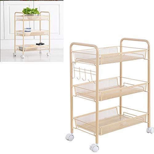 LZWK 3-Schicht-Küchengestell Abnehmbare Bodenablage Trolley Home Küche Bad Lagerregal Weiß,Beige - Weiße Küche, Trolley