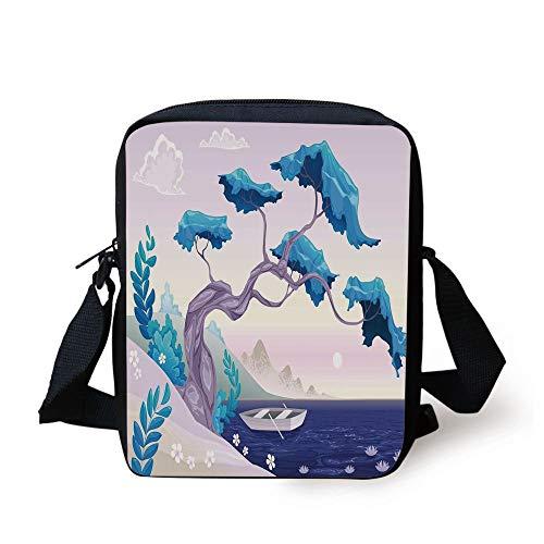 Coastal Decor,Fantastic Landscape Bonsai Tree Sea Water Lilies Daisies and Boat,Blue Light Blue Lilac Print Kids Crossbody Messenger Bag Purse -