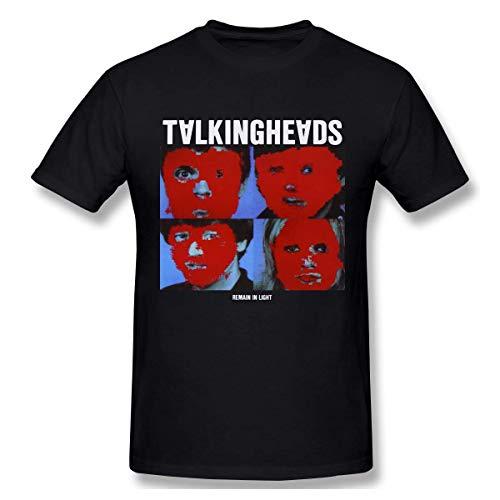 Men's Fashion Talking Heads Remain in Light Print Design T Shirts Black Short Sleeve,Black,S - Talking Heads Tee