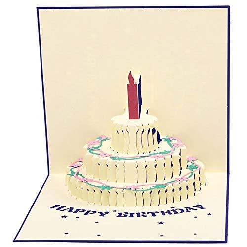 Papier Spiritz Flower Pop Up Karten Geburtstag Weihnachten Blume 3D Grußkarte 5.91*5.91 Inches Birthday Cake III Blue -